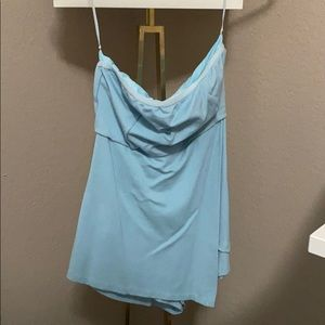 by the way strapless blue romper